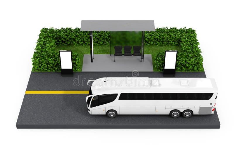 Stor vit station för lagledareTour Bus Near hållplats med tomma Billbo royaltyfri illustrationer
