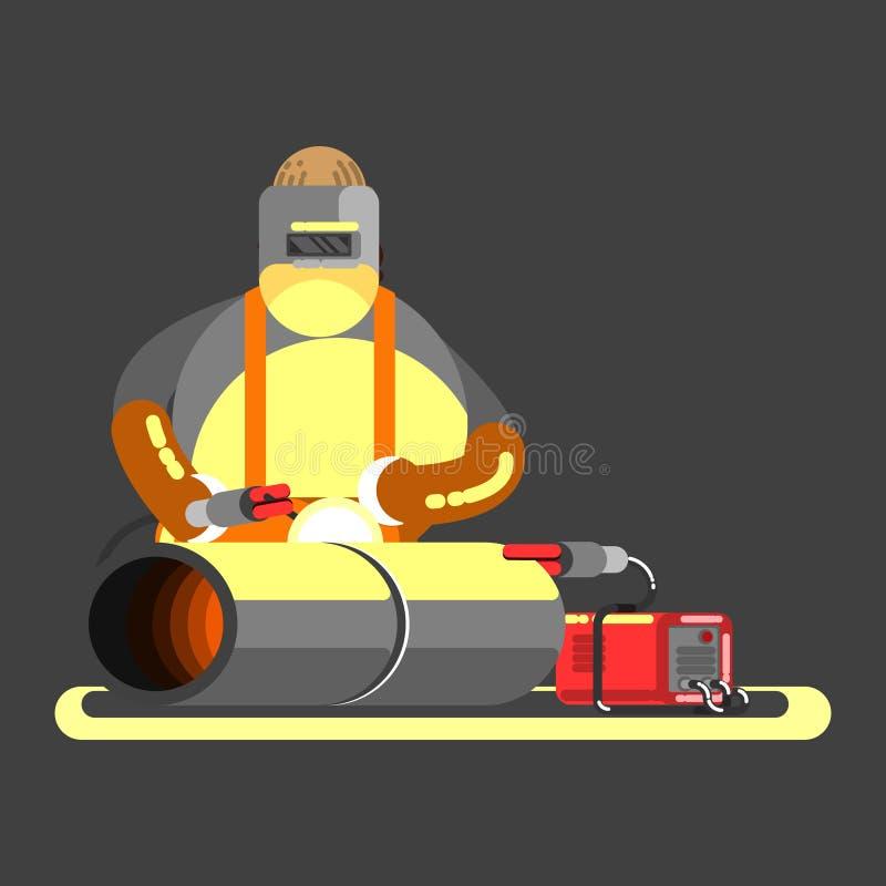 Stor welder i arbete stock illustrationer