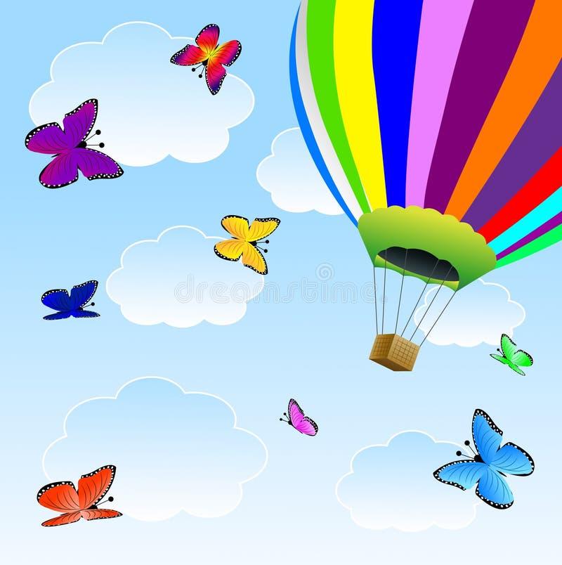 Stora ballong och fjärilar i blå himmel stock illustrationer