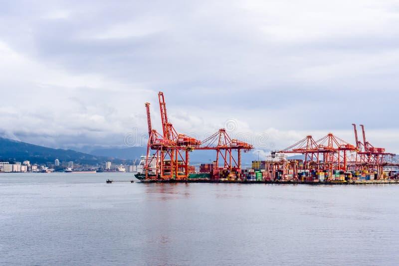 Stora behållarekranar i den Vancouver hamnen, F. KR., Kanada royaltyfria bilder