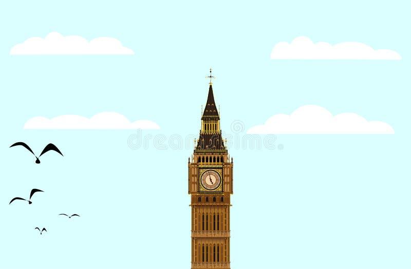 Stora Ben Blue Skies stock illustrationer