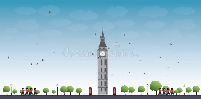 Stora Ben Tower och blå himmel med moln stock illustrationer