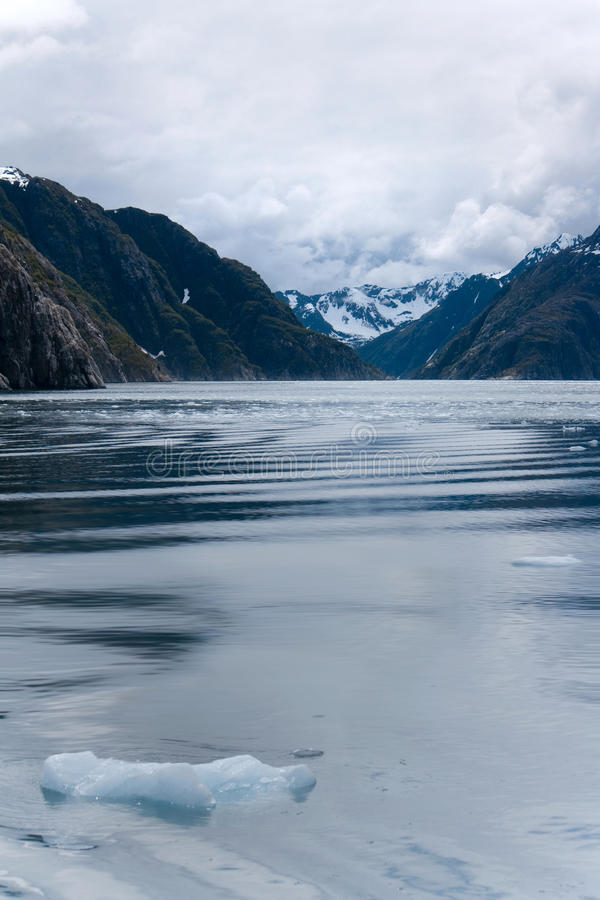 Stora bitar av is som svävar i havet nära Seward Alaska fotografering för bildbyråer