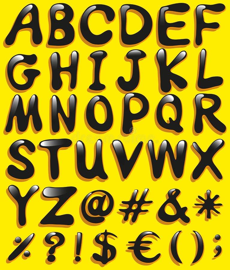 Stora bokstäver av alfabetet stock illustrationer