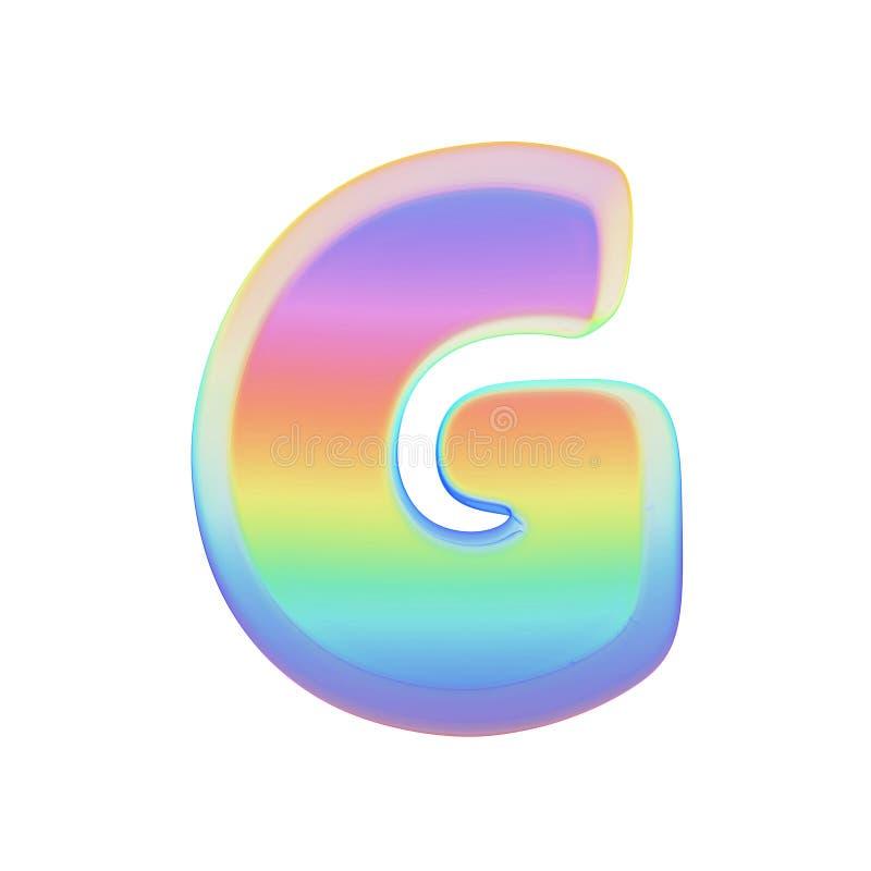 Stora bokstav för alfabetbokstavsG Regnbågestilsort som göras av ljus såpbubbla 3d framför isolerat på vitbakgrund royaltyfri illustrationer