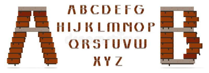 Stora bokstav för stilsortstyp, tegelstenar och konkreta tjock skiva Passande för byggande tema Individuella bokstäver också kan  royaltyfri illustrationer
