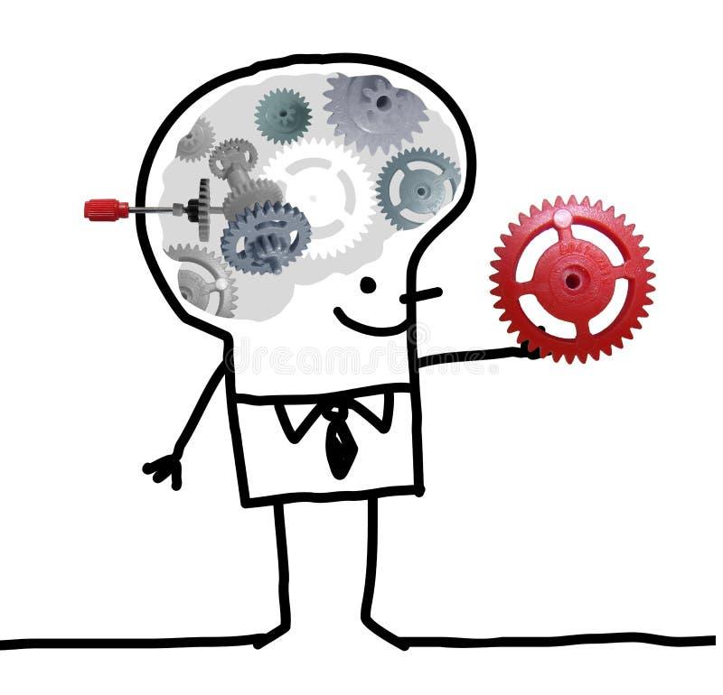 Stora Brain Man - kugghjul och begrepp stock illustrationer