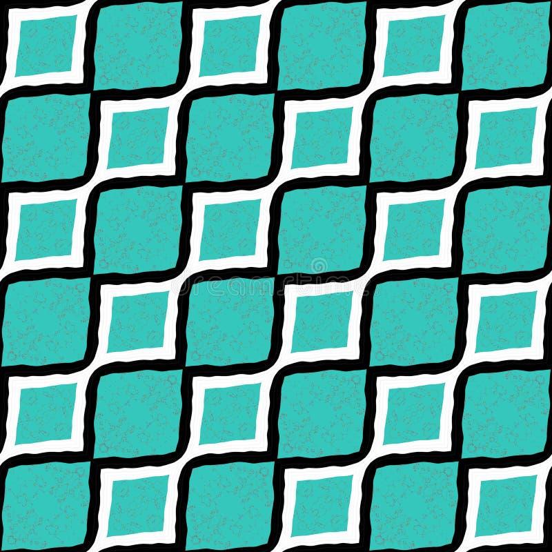 Stora cyan och vit och svarta diagonala linjer som framlänges göras randig, planlägger den sömlösa tapeten för modellen stock illustrationer
