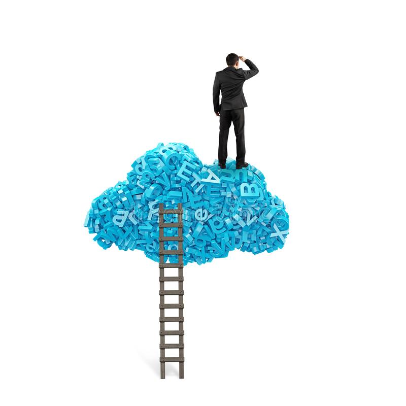 Stora data Affärsmananseende på det blåa molnet för tecken 3d royaltyfria bilder