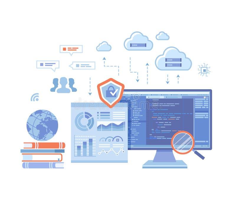 Stora data - bearbeta Forskning för databas för Infographic analysAnalytics Finansiellt anmäla smartphonen surfar p? molnet i him stock illustrationer