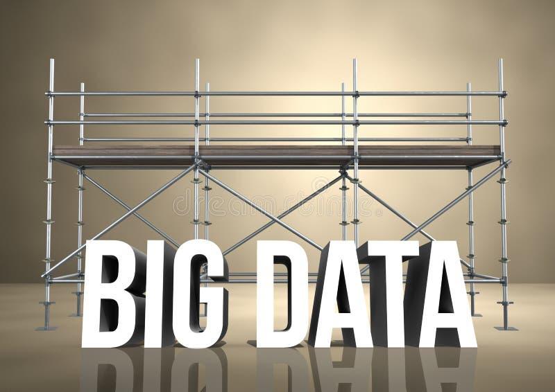 stora data för ord 3D mot materialet till byggnadsställning i beige rum stock illustrationer