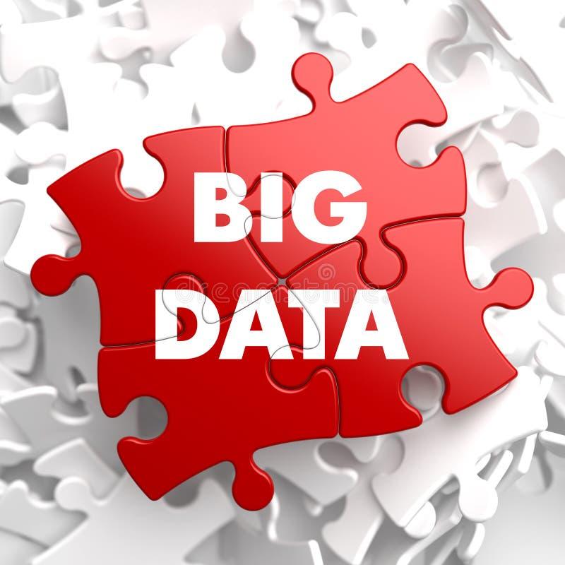 Stora data på rött pussel. vektor illustrationer