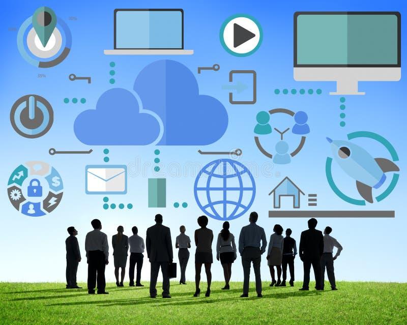 Stora data som delar online-molnbegrepp för global kommunikation stock illustrationer