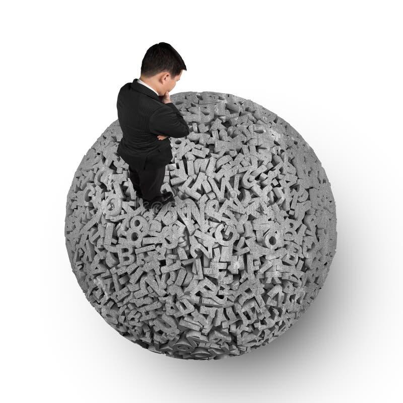 Stora data, tänkande affärsmananseende på konkret boll för tecken 3d arkivbild