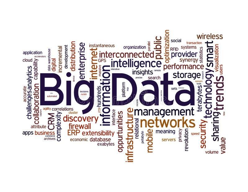 Stora data uttrycker molnet vektor illustrationer