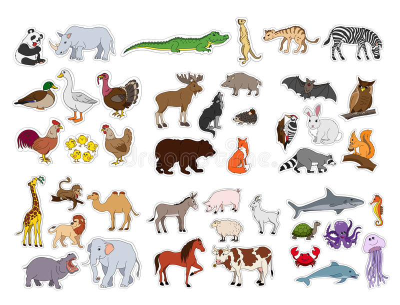 Stora djur ställde in, illustrationen med djursamlingen som isolerades på vit bakgrund royaltyfri illustrationer