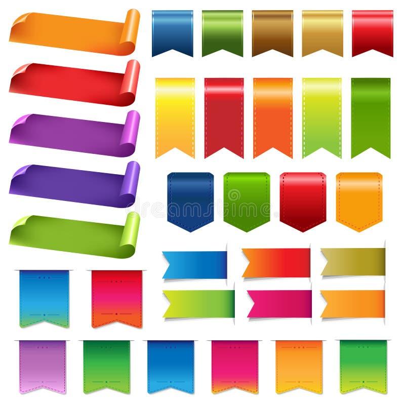 Stora färgrika band och designbeståndsdelar vektor illustrationer