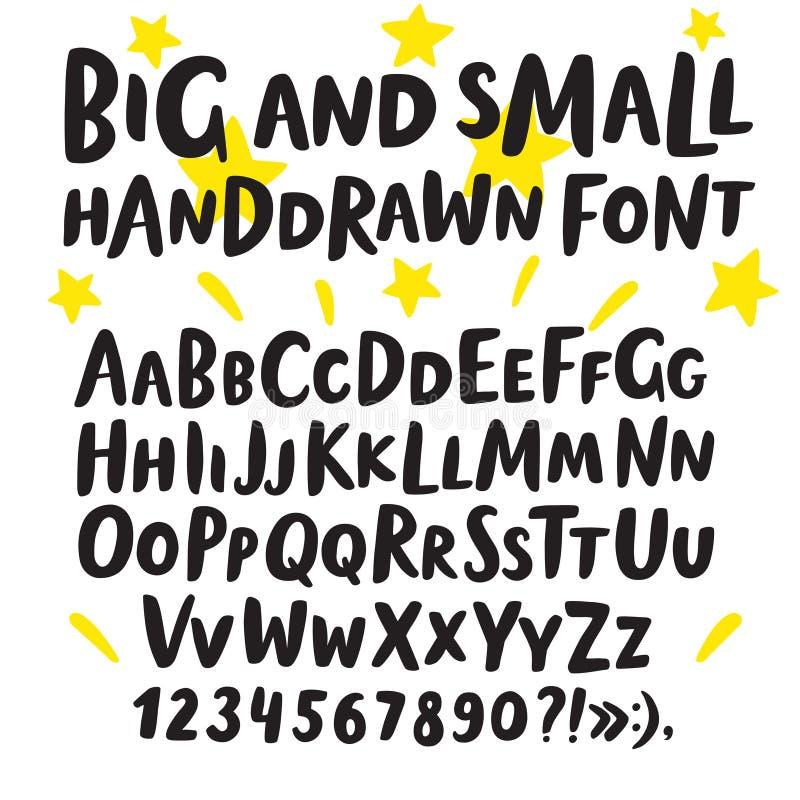 Stora för borste hand drog och små bokstäver stock illustrationer