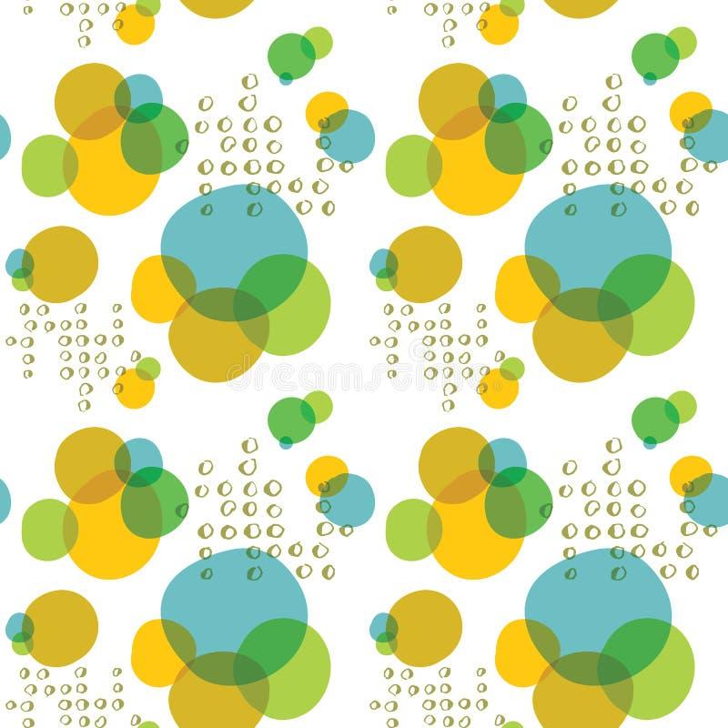 Stora för vektor gör sammandrag färgrika och små cirklar sömlös modellbakgrund stock illustrationer