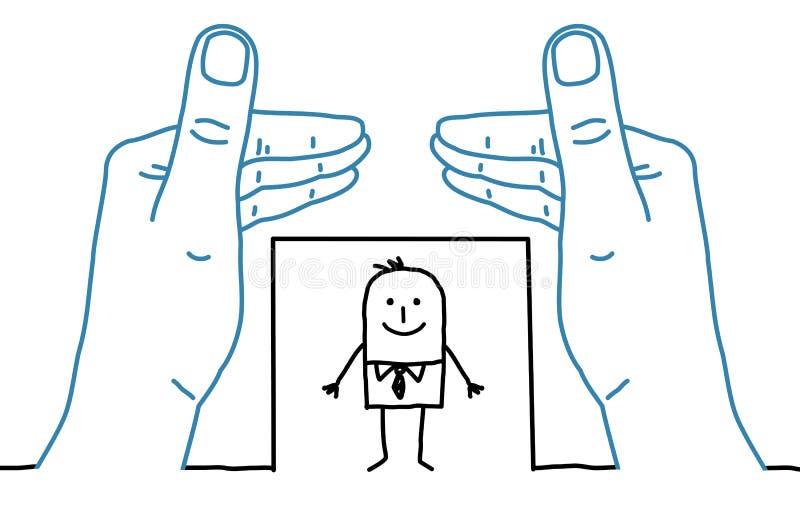 Stora händer och tecknad filmaffärsman - inrama stock illustrationer