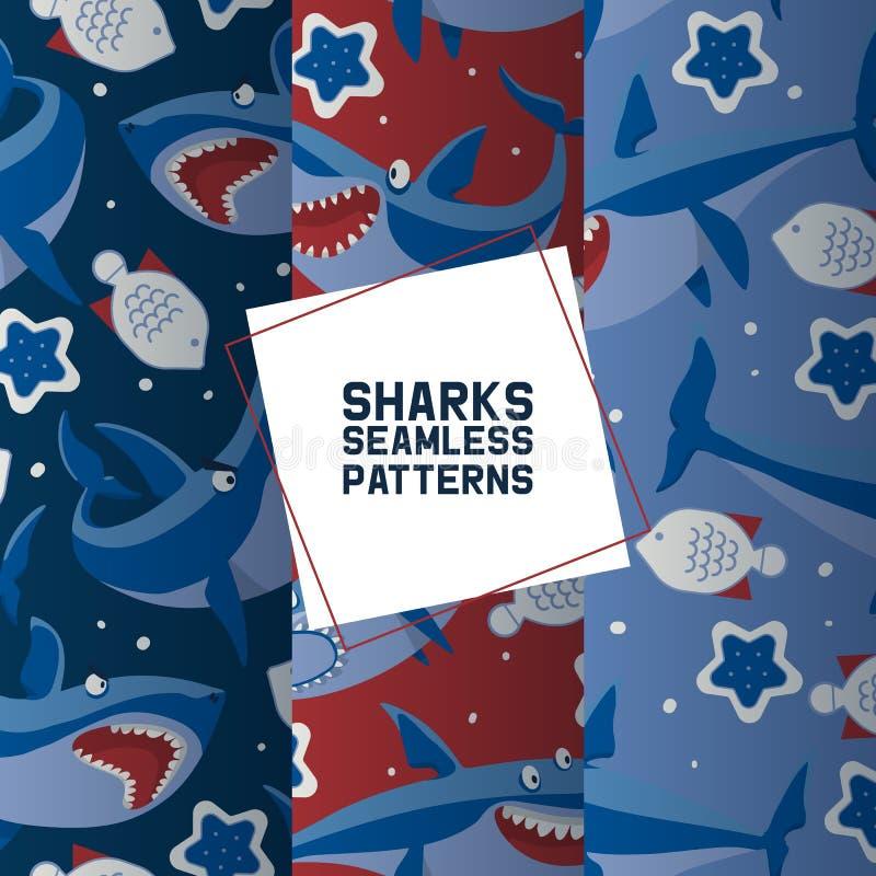 Stora hajar ställde in av sömlös modellvektorillustration Härlig korallrev för tecknad film och tropisk fisk, sjöstjärna in royaltyfri illustrationer