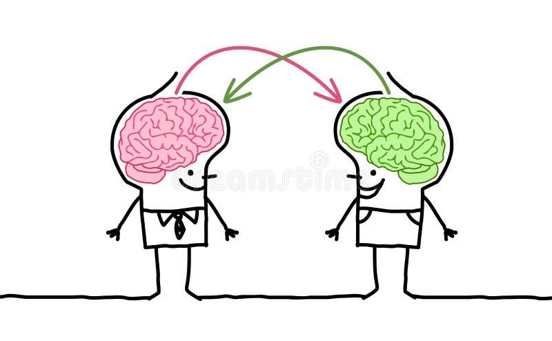 Stora hjärnmän & utbyte stock illustrationer