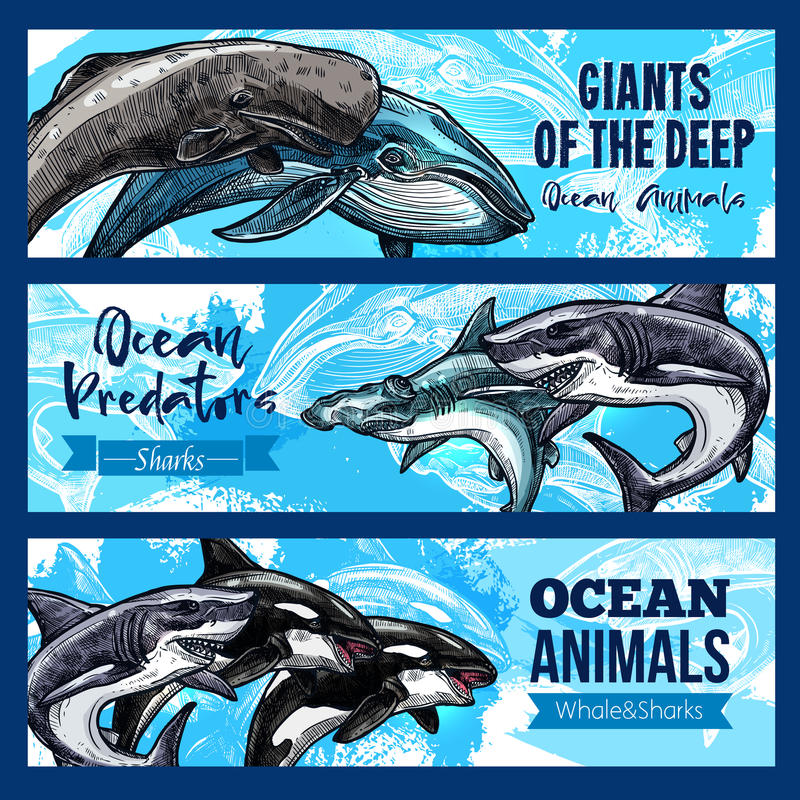 Stora jätte- djur av djupt ocaen vektorbaneruppsättningen stock illustrationer