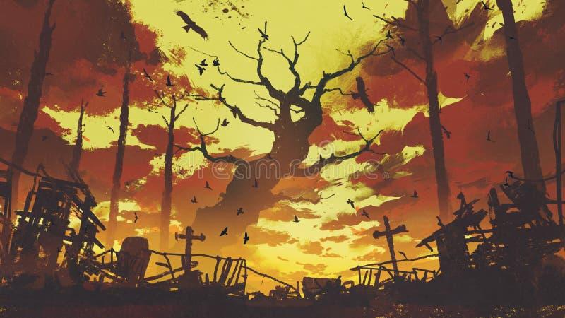 Stora kala träd med flygfåglar i solnedgånghimmel vektor illustrationer