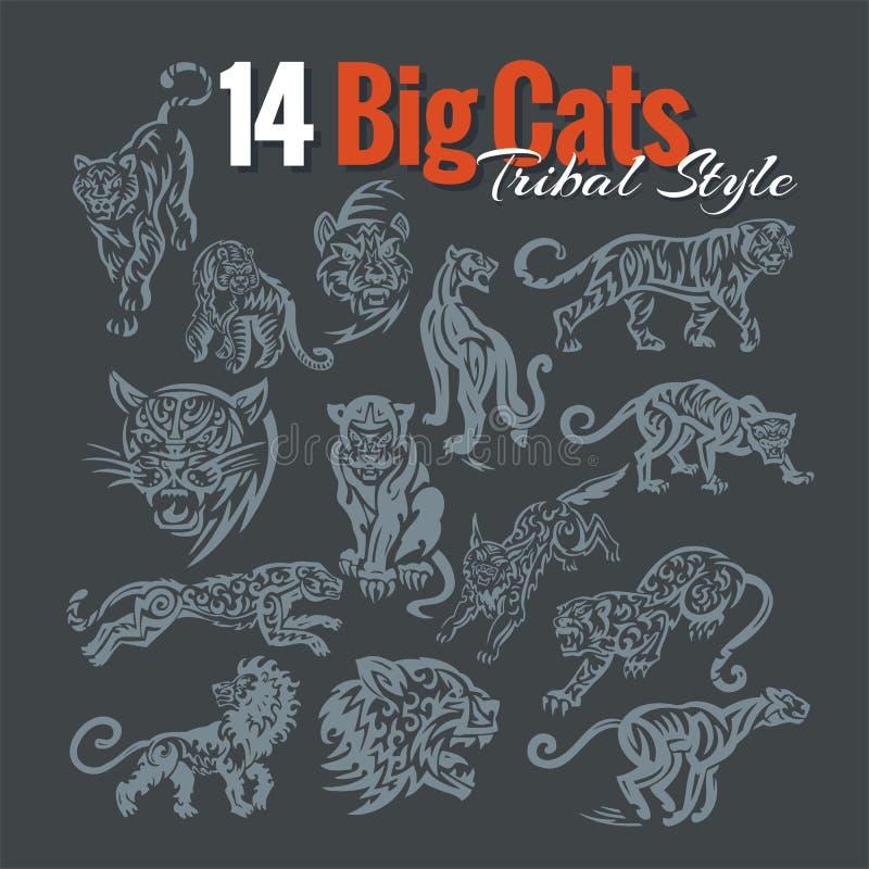 Stora katter i stam- stil vektor för set för tecknad filmhjärtor polar vektor illustrationer