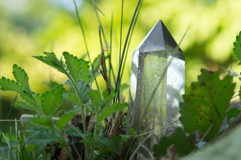 Stora klara rena genomskinliga stora kungliga kristaller av kvartschalcedonydiamanten på slut för naturgräsbakgrund upp royaltyfri foto