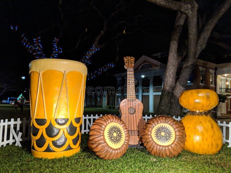Stora kopior av hawaianska instrument på skärm royaltyfri fotografi
