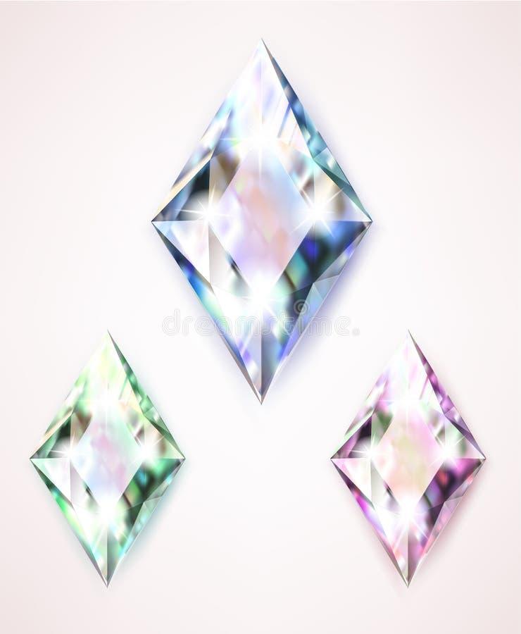 Stora kulöra smyckendiamanter med bergkristaller och ljust sken stock illustrationer
