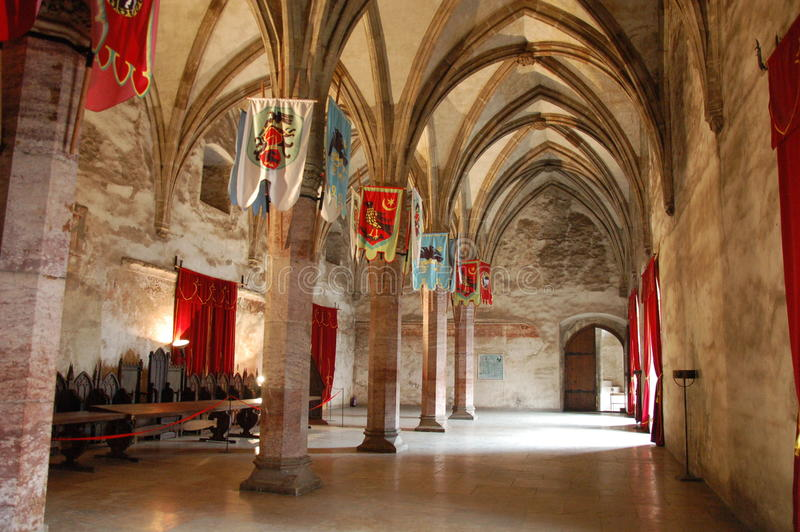Stora medeltida Hall, Huniards slott royaltyfri fotografi