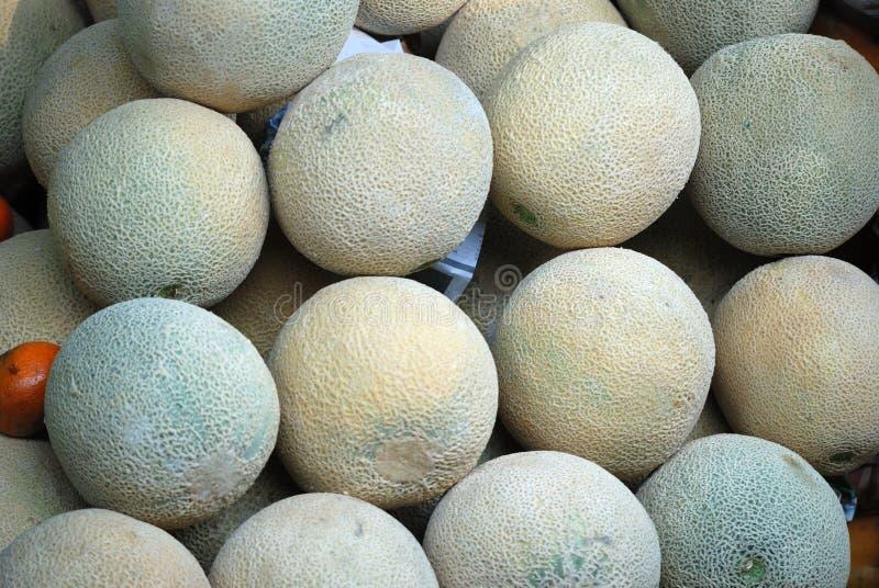 Stora melon i en mexicansk marknad royaltyfria foton