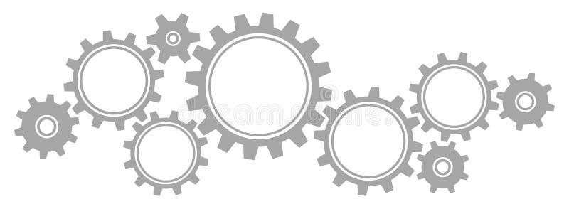 Stora nio och små kugghjul gränsar diagram Gray Horizontal royaltyfri fotografi