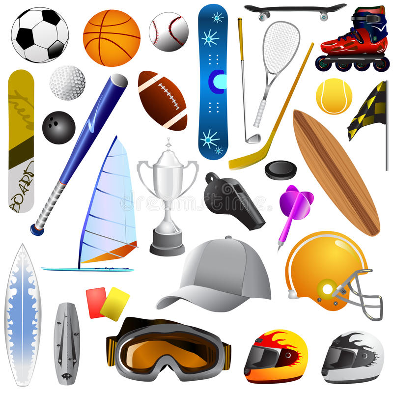 stora objekt ställde in sporten royaltyfri illustrationer