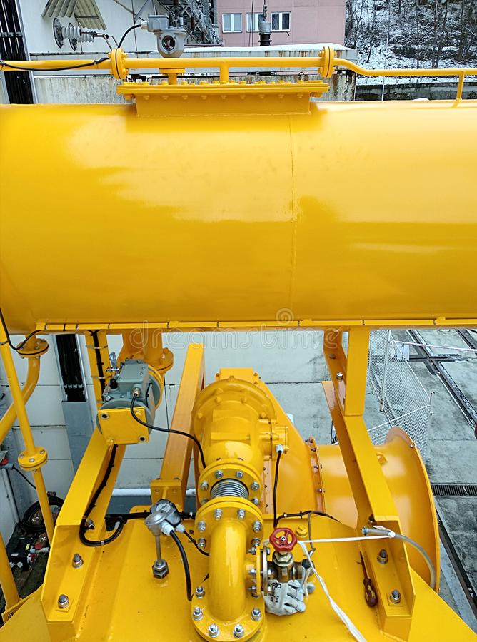 Stora olje- transformatorer royaltyfria foton