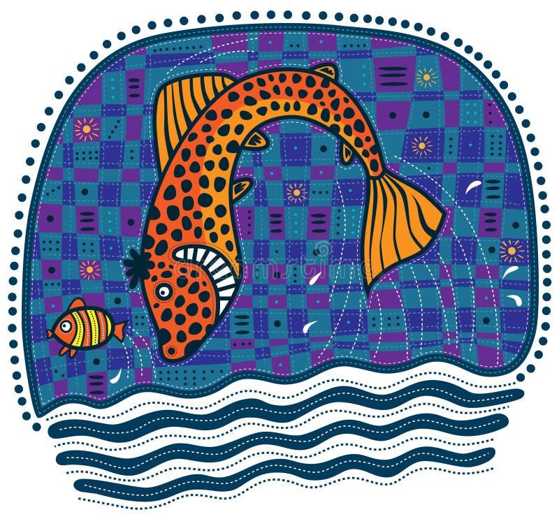 Stora orange fiskjakter för liten fisk royaltyfri illustrationer