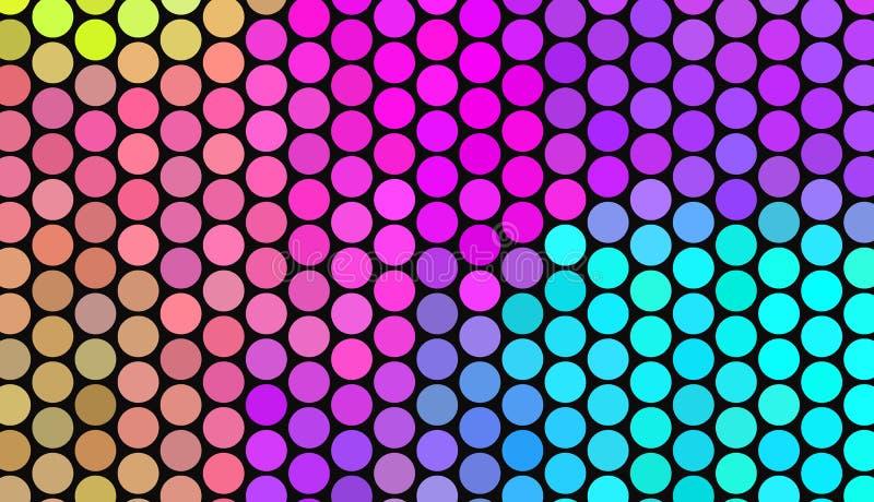 Stora prickar på mörk bakgrund Ljusa neonfärger Livlig lutning abstrakt geometrisk modell vektor illustrationer