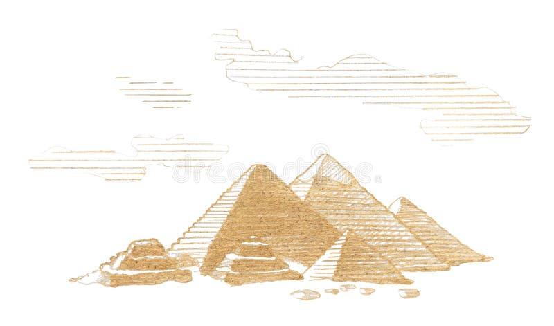 Stora pyramider av Egypten, grafisk linjär tonal teckning vid sepia, tonat papper vektor illustrationer