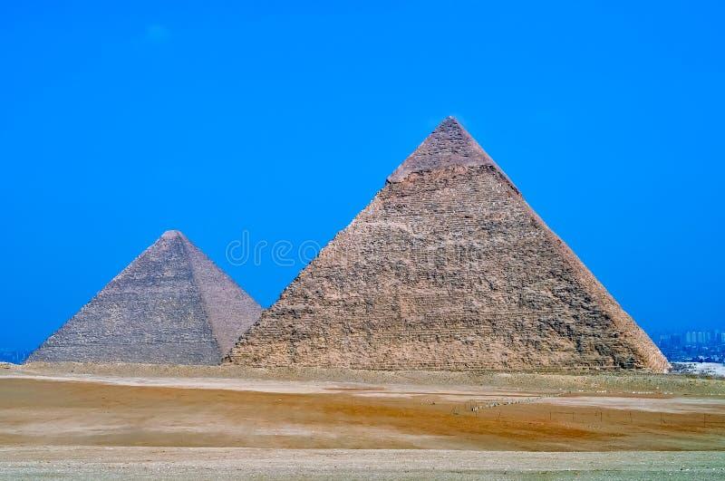 Stora pyramider i Giza, Egypten royaltyfri fotografi