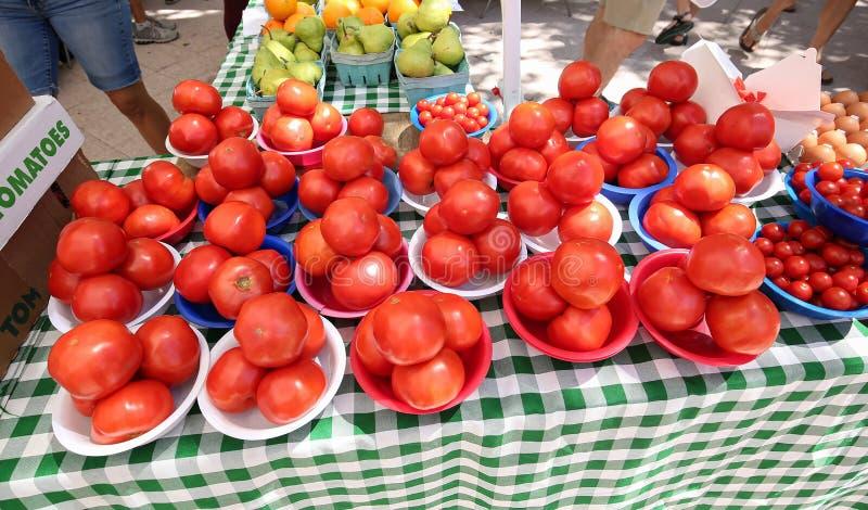 Stora r?da s?ta och saftiga mogna tomater arkivfoto