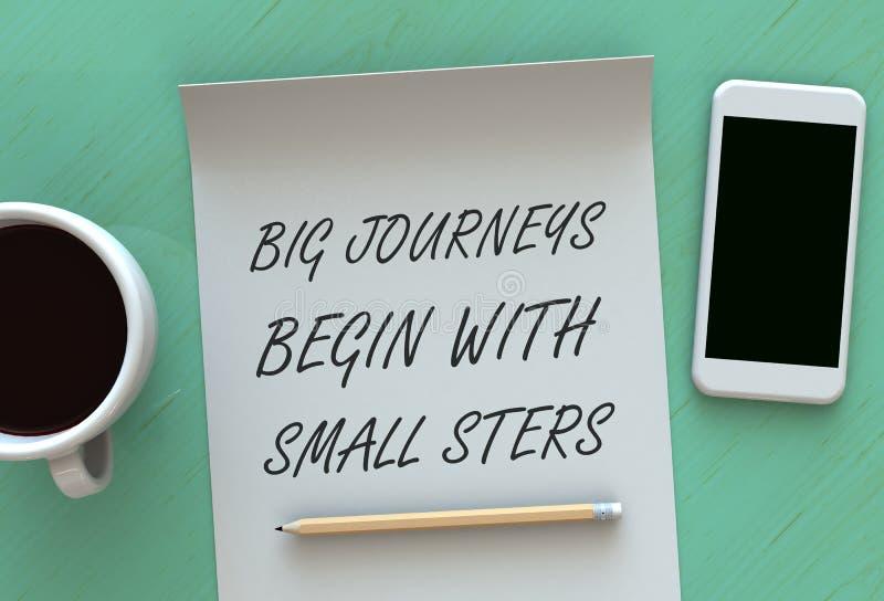Stora resor börjar med små moment, meddelandet på papper, den smarta telefonen och kaffe på tabellen royaltyfri foto
