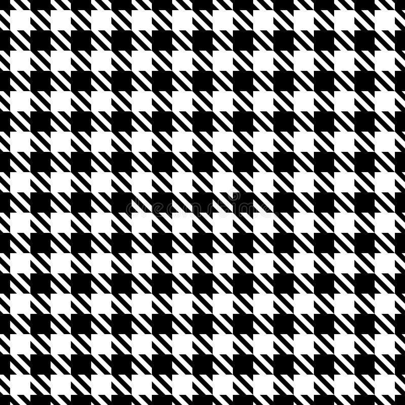 Stora sömlösa grafiska Houndstooth mönstrar svartvitt vektor illustrationer