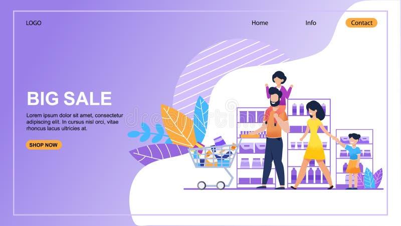 Stora Sale i online-mall för lagerlandningsida stock illustrationer