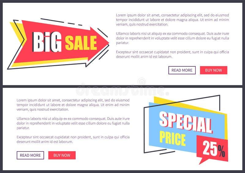 Stora Sale och för specialt pris vektorillustration stock illustrationer