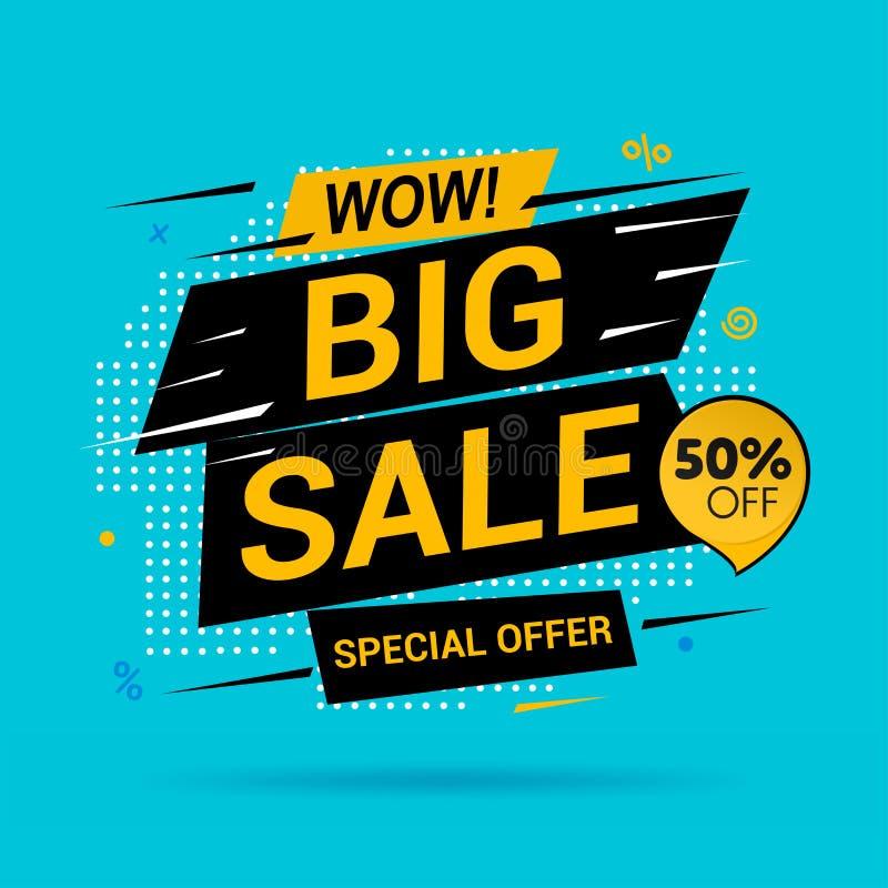 Stora Sale och specialt erbjudande Femtio procent av p? bl? bakgrund royaltyfri illustrationer