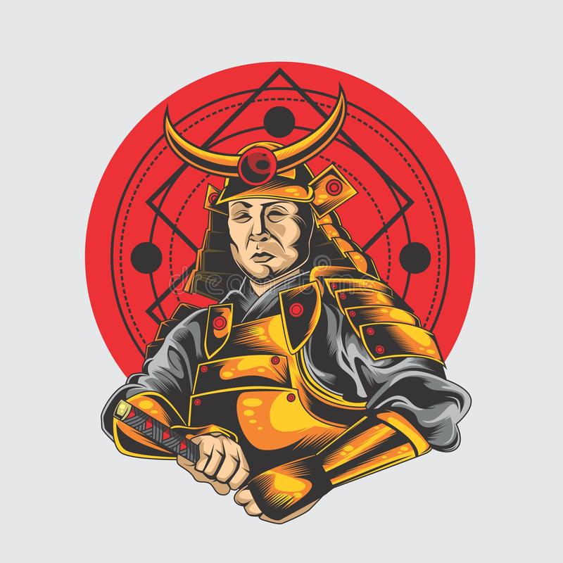 Stora samurajer stock illustrationer