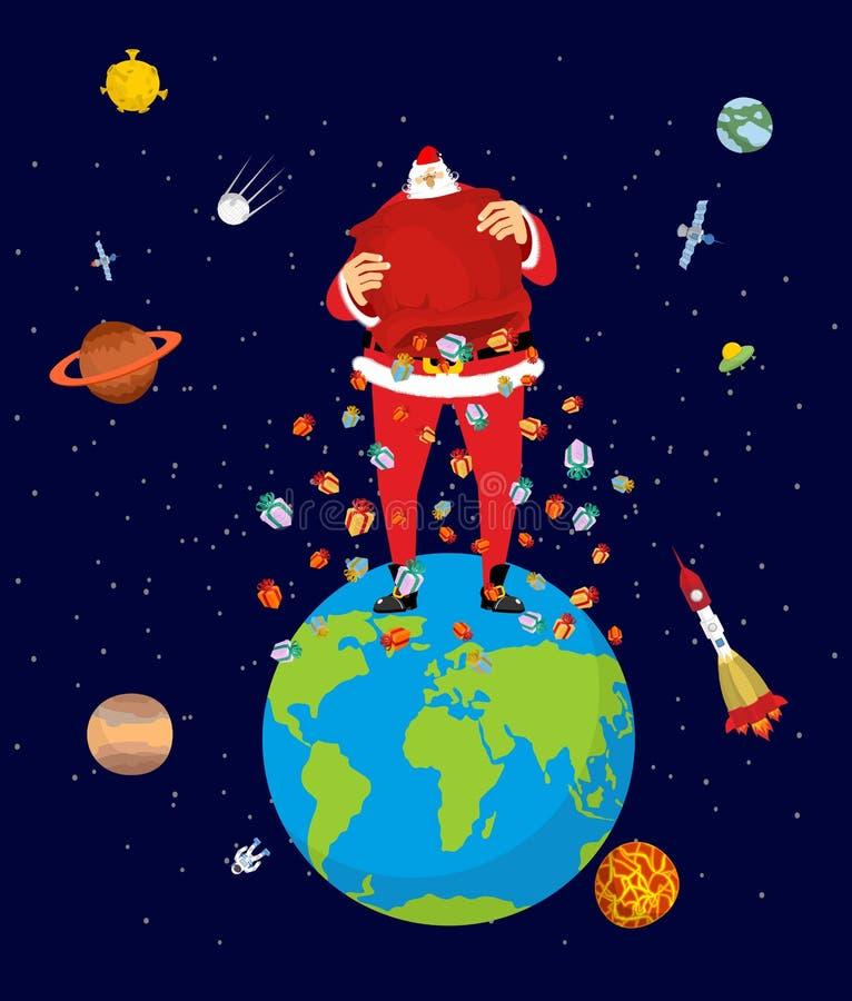 Stora Santa Claus på jord Jul på planeten Stor röd påse och M stock illustrationer