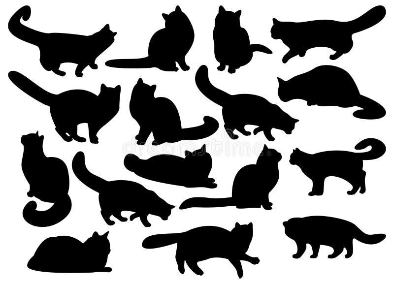 stora set silhouettes för katt s stock illustrationer
